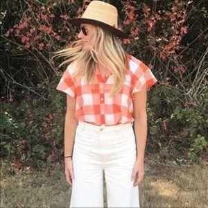 Mauve Orange Gingham Flutter Sleeve Top